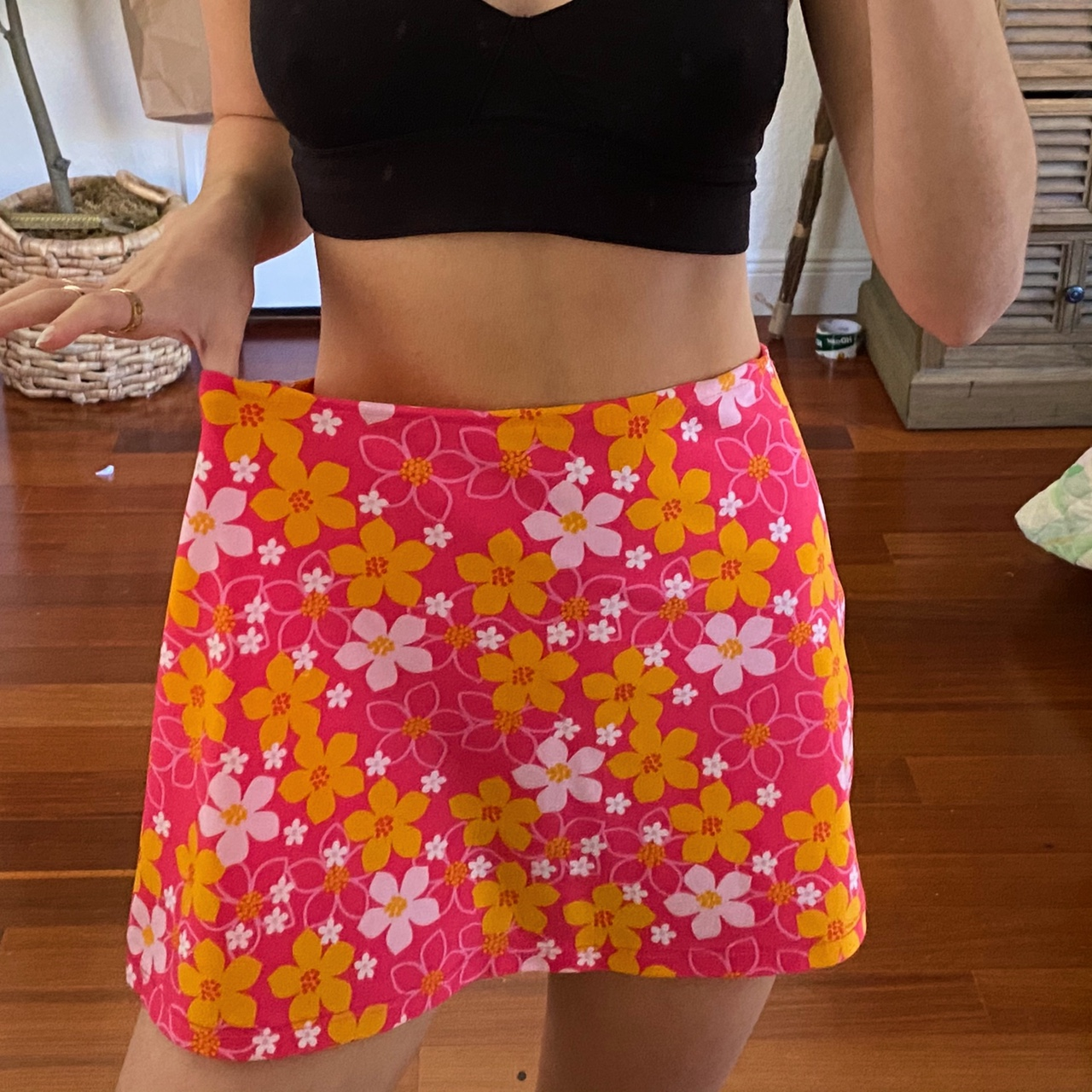 Vintage Pink and Orange Retro Floral High Waisted Stretch
