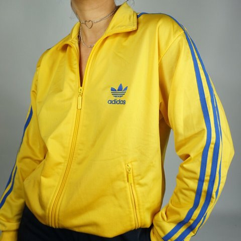 a1614b34727b 90s yellow Adidas tracksuit jacket    age 14 but fits model - Depop