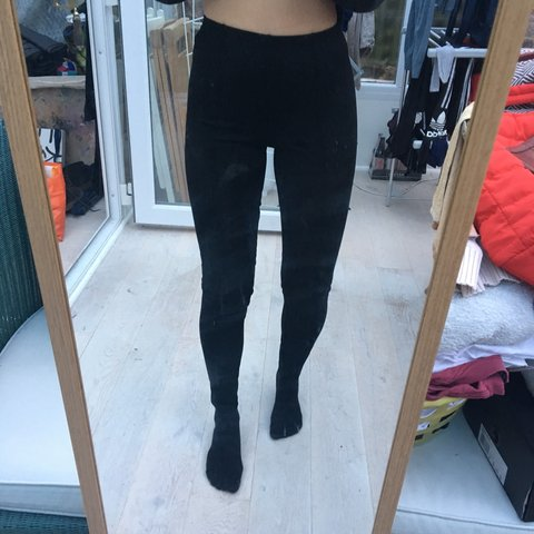 f84b8256b0e American Apparel black thick leggings with piped line all - Depop