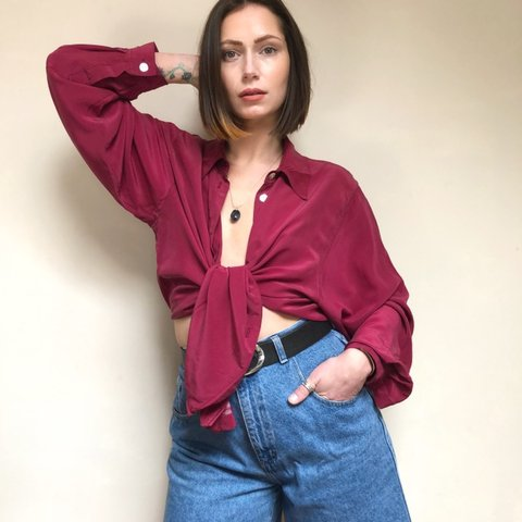 3d826d45 90s silk maroon blouse - size large ♻ ♻ ♻ Soft to silk 1&2 ...