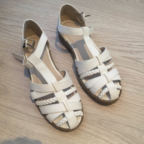 abca084bfaf Cute white asos strappy gladiator sandals with small block a - Depop