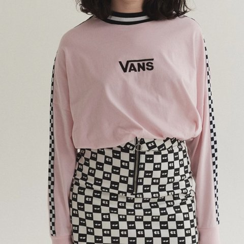 1d5f2a01b585 Vans x Lazy Oaf Pink Checkerboard long sleeve a couple of so - Depop