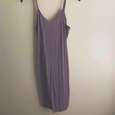 Stripped Fitted Forever21 Midi Dress Maroon White Depop