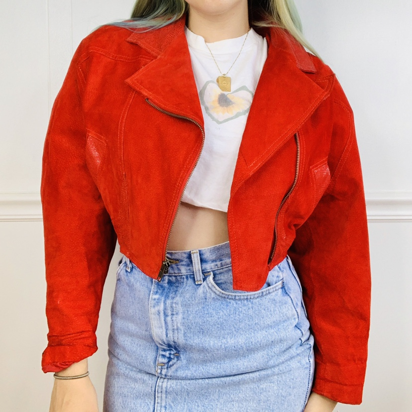 AMAZING!!!! Red 100% REAL leather jacket with a suede