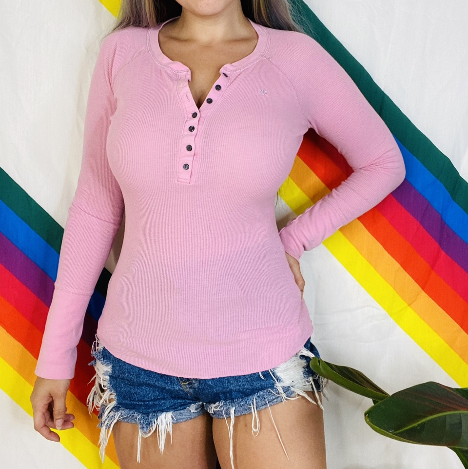 Pink ribbed long sleeve button down shirt
