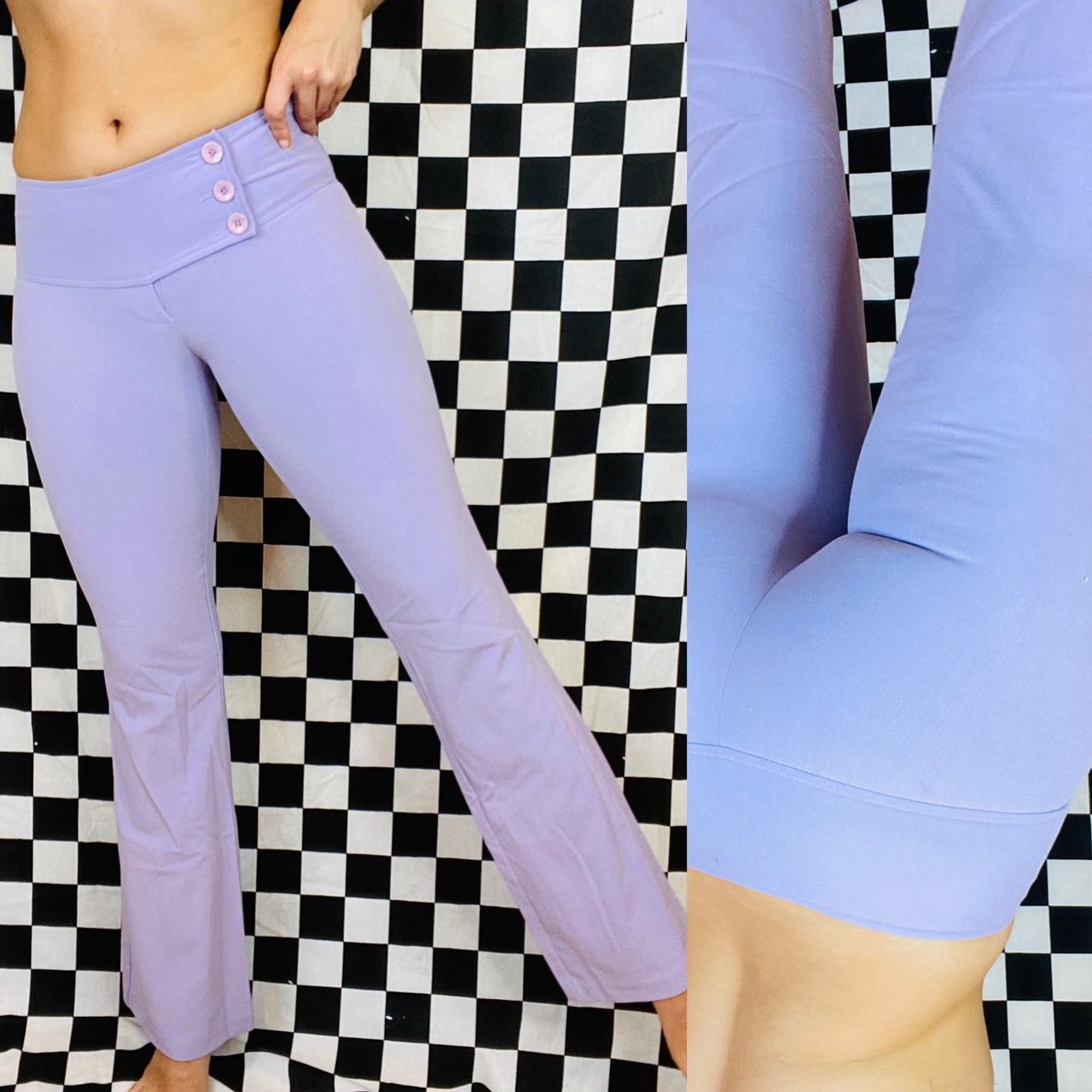 Vintage 90s 2000s XOXO lilac kick flare bottoms. These