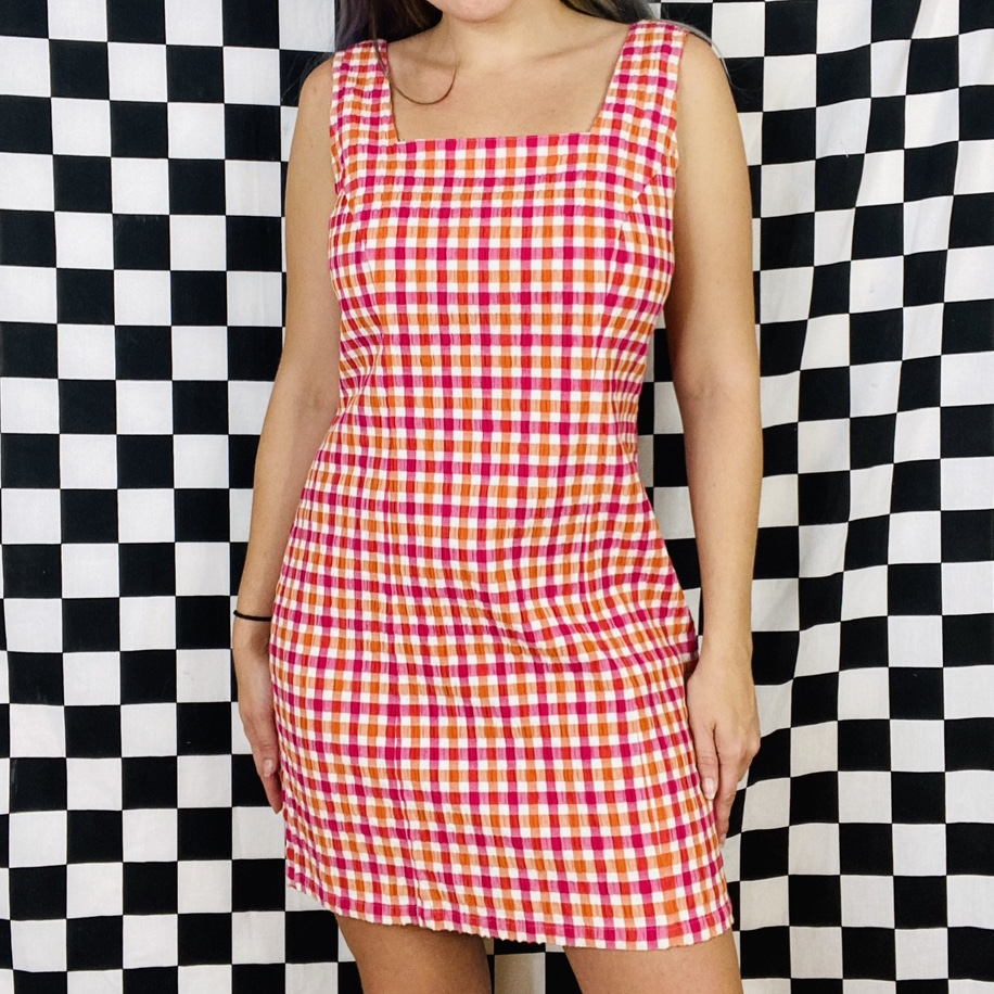 Vintage 90s 2000s pink and orange gingham check mini