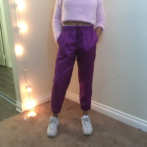 63c0bf5ff415 bright purple windbreaker pants (waist is unif brandy urban - Depop