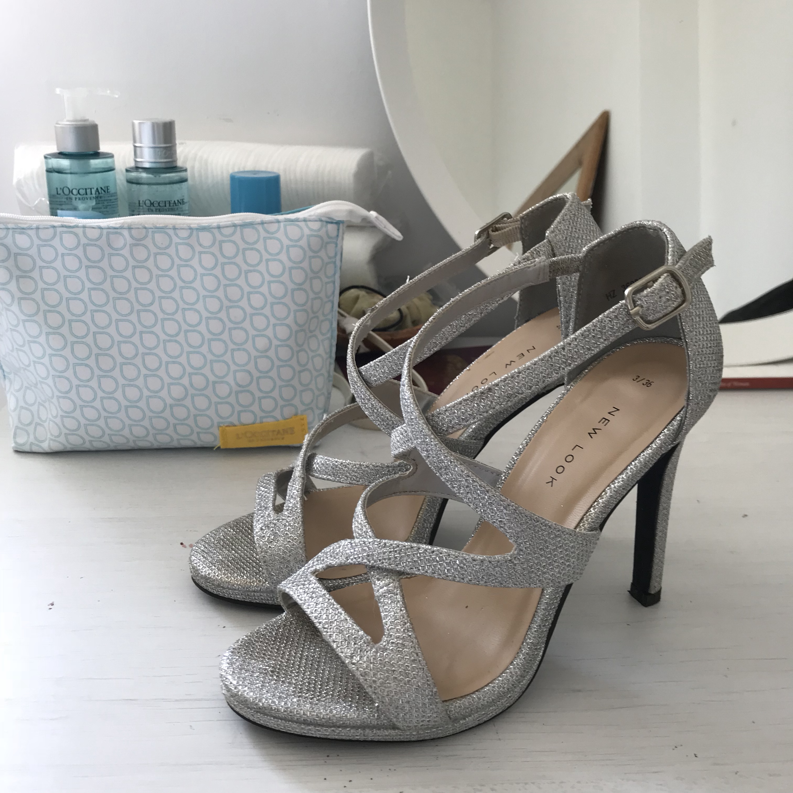 New Look sparkly silver heels, size 3