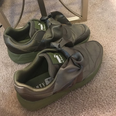 3a84cf47657 Price Reduced  The fenty x puma bow sneakers. olive green - Depop