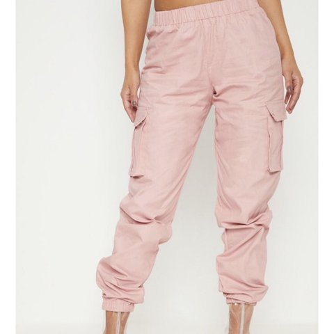 89eb60cfb2f706 Baby pink cargo trousers from pretty little thing, size 12 a - Depop
