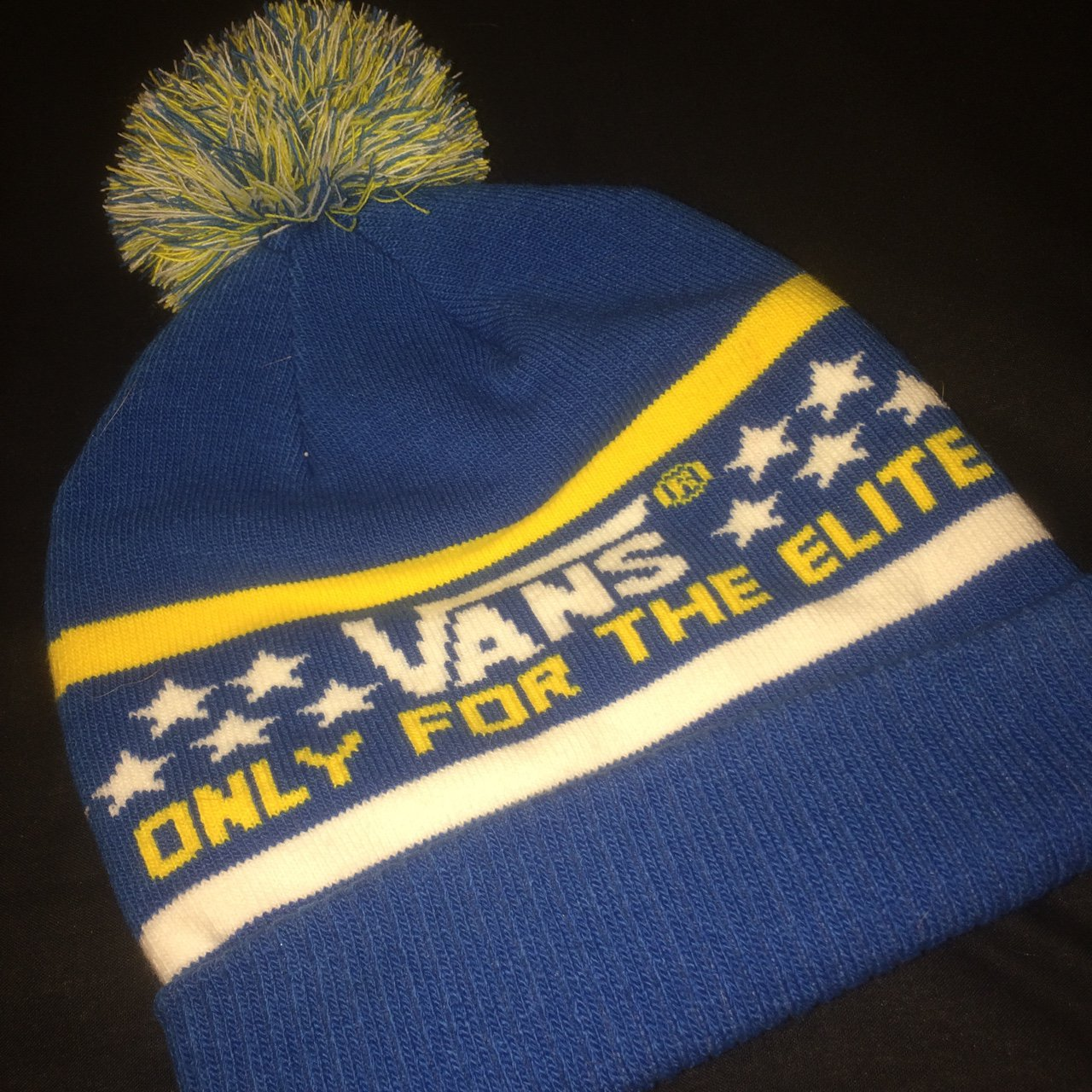 Vans- New with tags. Blue and yellow beanie hat- one size - Depop 97c1dfcb904