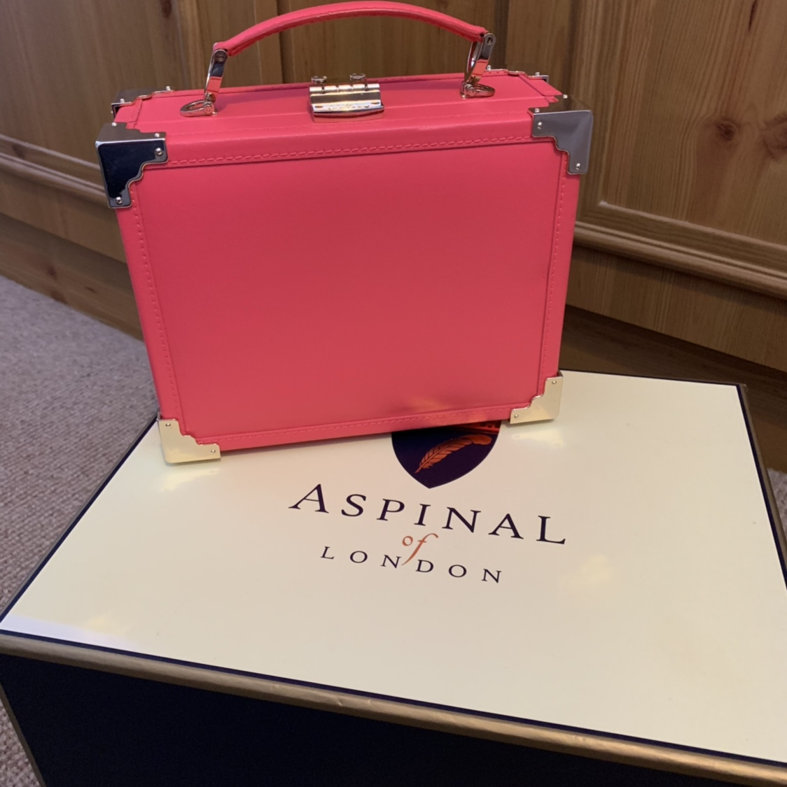 Aspinal of London trunk bag Smooth neon pink, has    - Depop