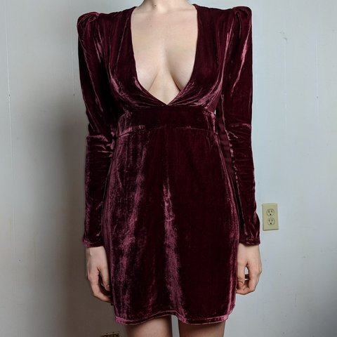 b0ff12fb Deadstock 80s inspired maroon red velvet dress from Express - Depop