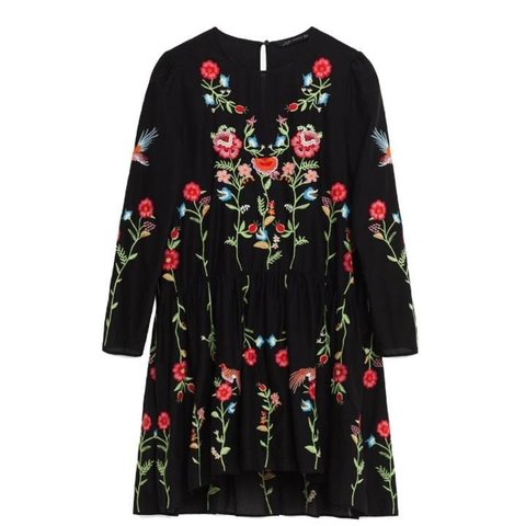 03bfbd5c697  kellymblakey. 2 years ago. United Kingdom. Zara black floral embroidered  dress. Size xs ...