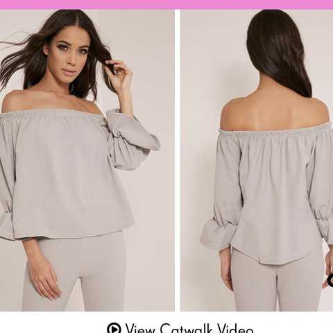 973a295aa6356 Pretty Little Thing PLT grey Bardot frill sleeve top - size - Depop