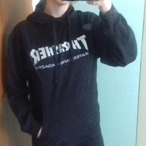a844004cbbca black thrasher hoodie with white font for reference I am a - Depop