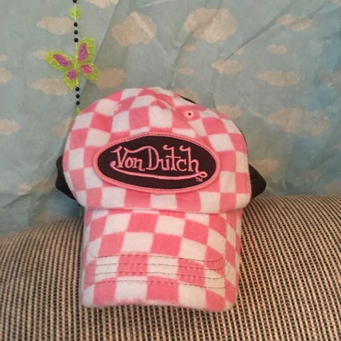 69f8b50eaa706 Von Dutch furry trucker hat. Has pink and white check furry - Depop