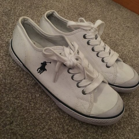 27caacefdf Size 4 white and navy blue Ralph Lauren polo summer shoes ! - Depop