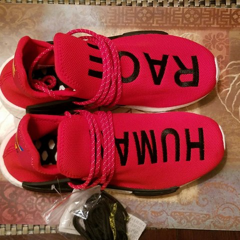 378c9814a Nmd adidas human race red size 7 - Depop
