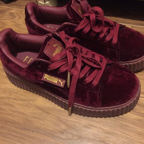 94d56fc8305ae5 Puma Fenty Creepers Burgundy size UK 3.5 worn only twice me - Depop