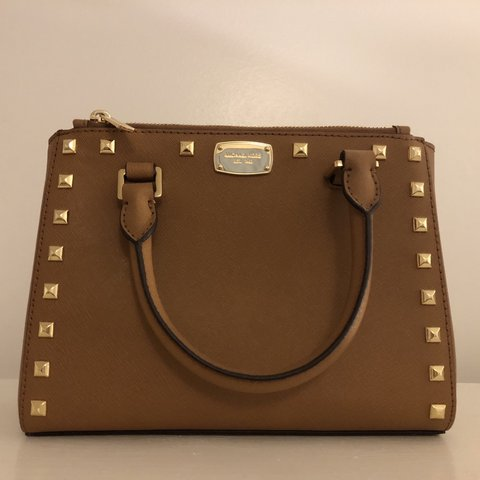 393990f6008a Authentic Michael Kors brown studded handbag with removable - Depop