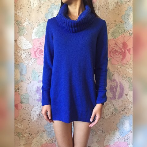 10daa87dee5 Thick and warm blue cowl neck sweater dress from H M. for A - Depop
