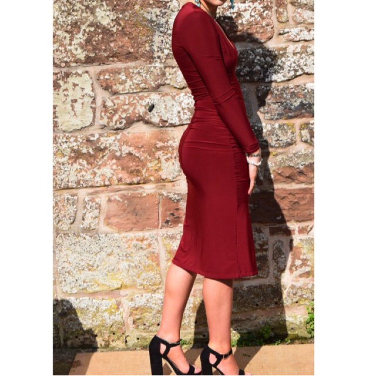 2548a65ad2 Missguided burgundy dress size 8. Slit in the left leg. Been - Depop