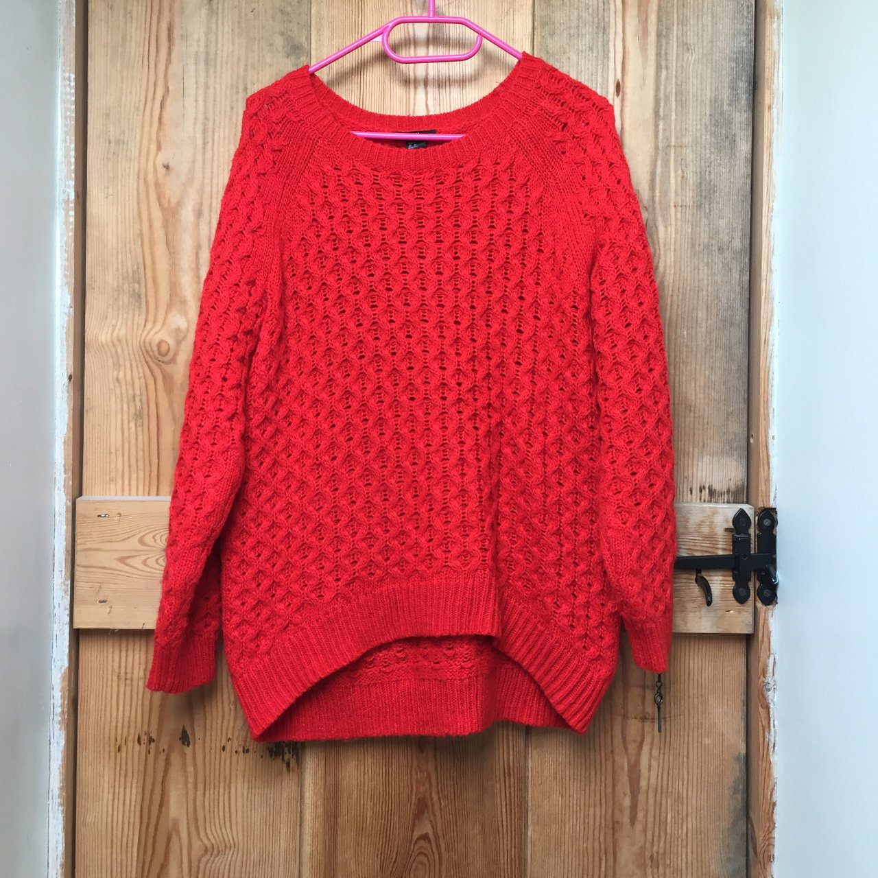 90cdeac89f Red knitted jumper. H M. It s warm and soft. It says it s an - Depop