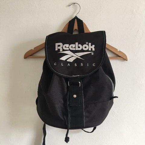 Vintage Reebok classic backpack 🎒 black with embroidered a - Depop