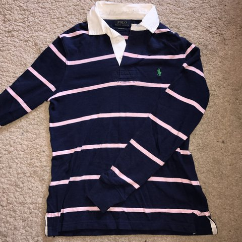 b0e564232 @lizziemoore25. 2 years ago. Kirk Smeaton, United Kingdom. RALPH LAUREN  navy and pink women's polo rugby shirt ...