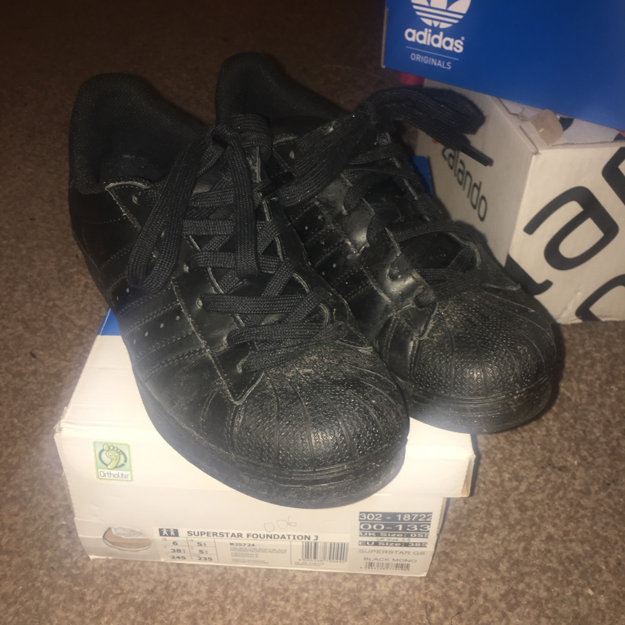 new product 2c717 88358 ADIDAS superstar mono foundation all black leather... - Depop