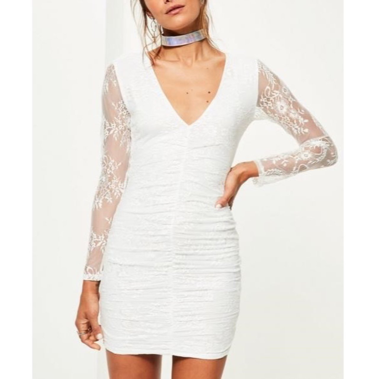 f861bd3b6d FREE DELIVERY Missguided white fine lace plunge ruche - Depop