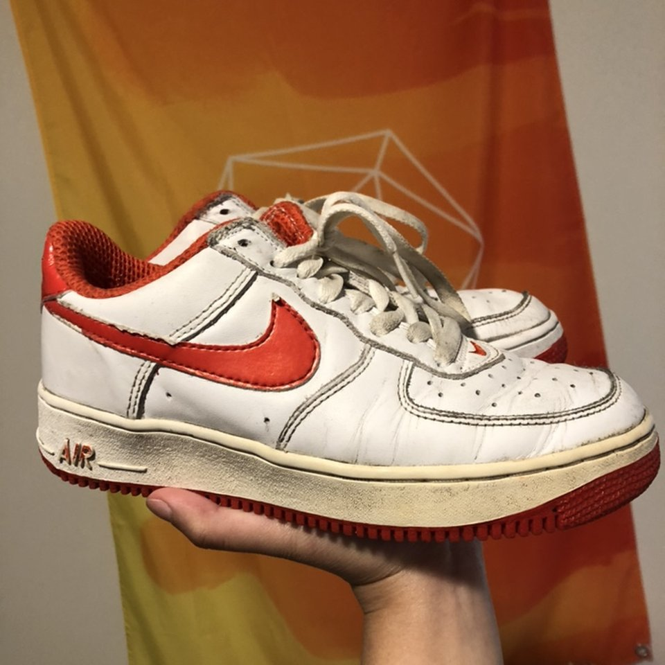 Nike Air Force 1 White Red Swoosh And Sole Depop
