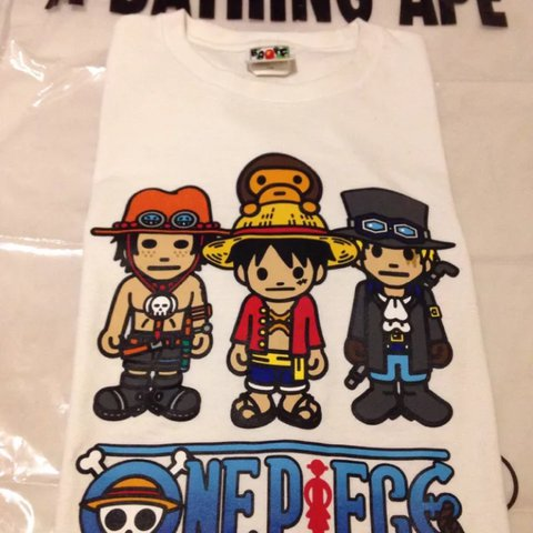 952c70226 Bape x one piece Sabo, Luffy and Ace tee form spring summer - Depop