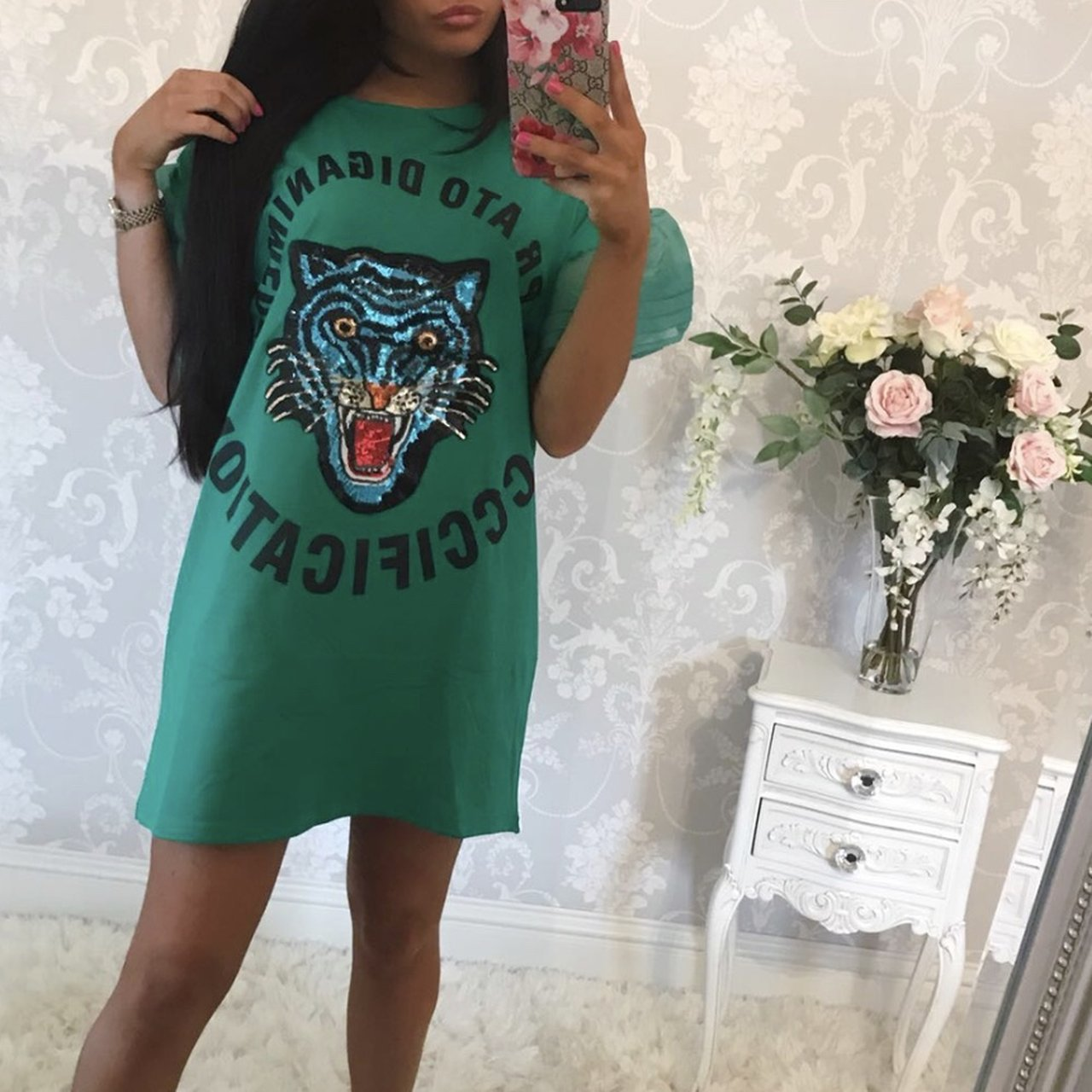 045006db7a5fdf Green tiger t shirt dress still with tags never worn