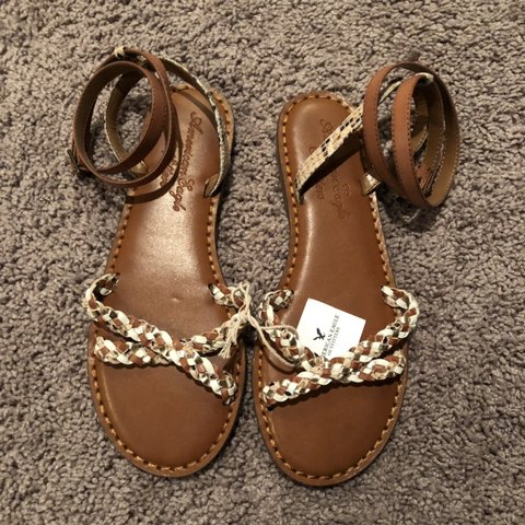 99007dd40465 Brand new American Eagle Outfitters Brown Braided Sandals 7 - Depop
