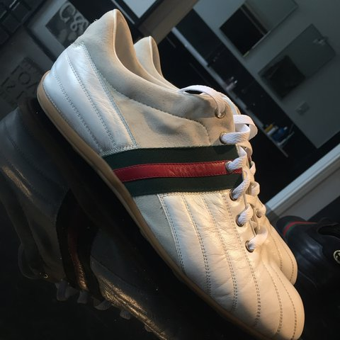 f8b3e4d52db Mens White cream Gucci trainers   Size 11   worn once or     - Depop