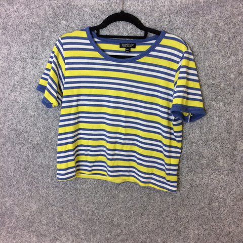 6d4ac0d46d5 @luchiluu. 2 years ago. Solihull, UK. •Adorable Topshop cropped tshirt with  blue, yellow and white stripes. •Size 12.