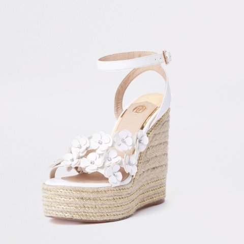 1df979bee7f6a river island white flower espadrille platform wedges with as - Depop
