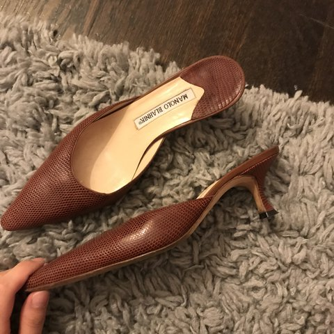 3630770fe98f1 Vintage reddish brown heels from Manolo blahnik! Faux snake - Depop