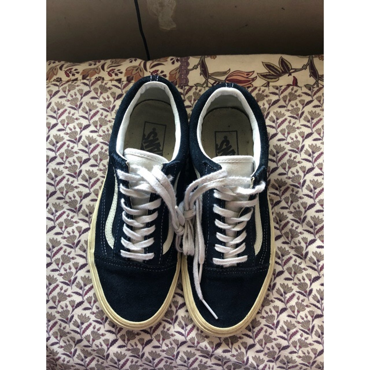 Navy suede old skool vans! Some scuffs on the back but been - Depop 7891fd1f7