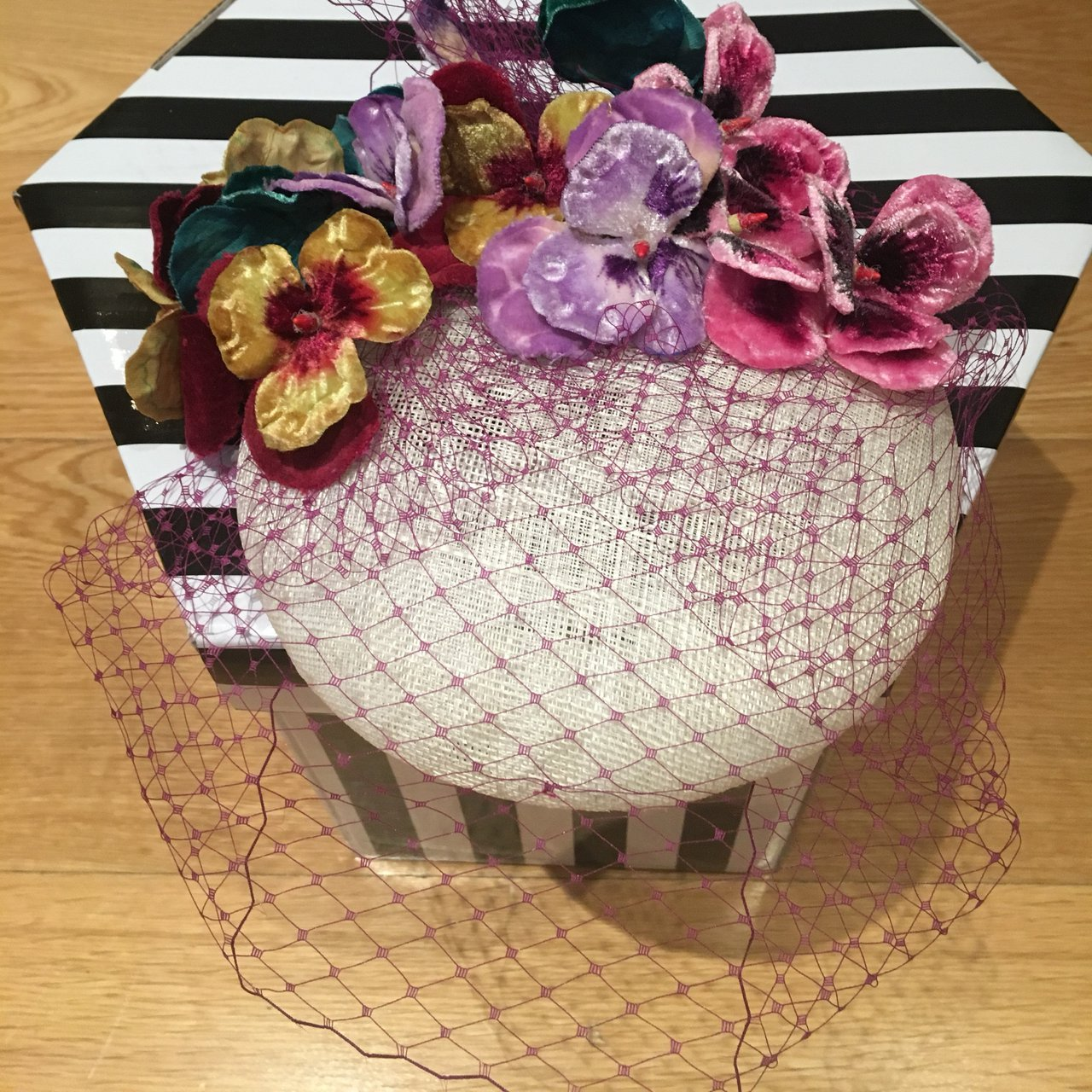 Custom made Pansy Hat with Veil White Base 5a84bd302e9