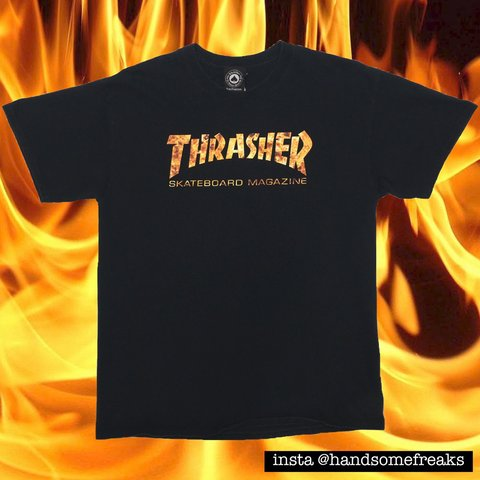 547e6f746595 Thrasher Fire Logo T-shirt 100% Cotton In good Printed - Depop