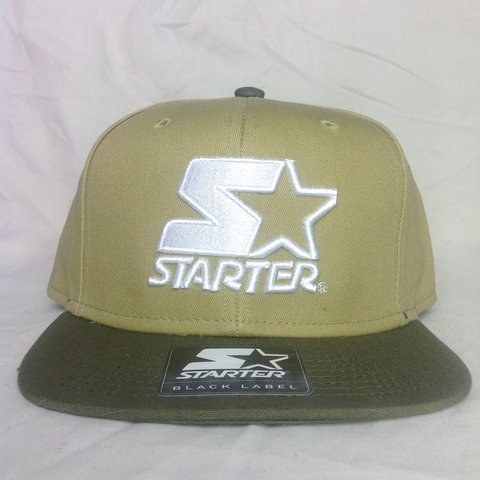 4567c16d @hatsandtees. 3 years ago. United Kingdom. Brand New Starter 2 tone Khaki  SnapBack with large white ...