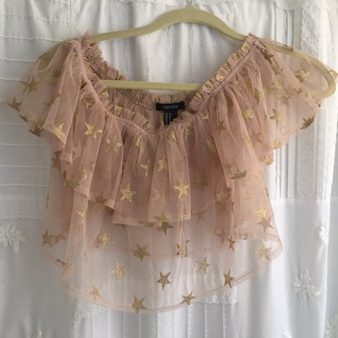 379bb44f399 Forever 21 Star Glitter Tube Top Worn only once and in like - Depop