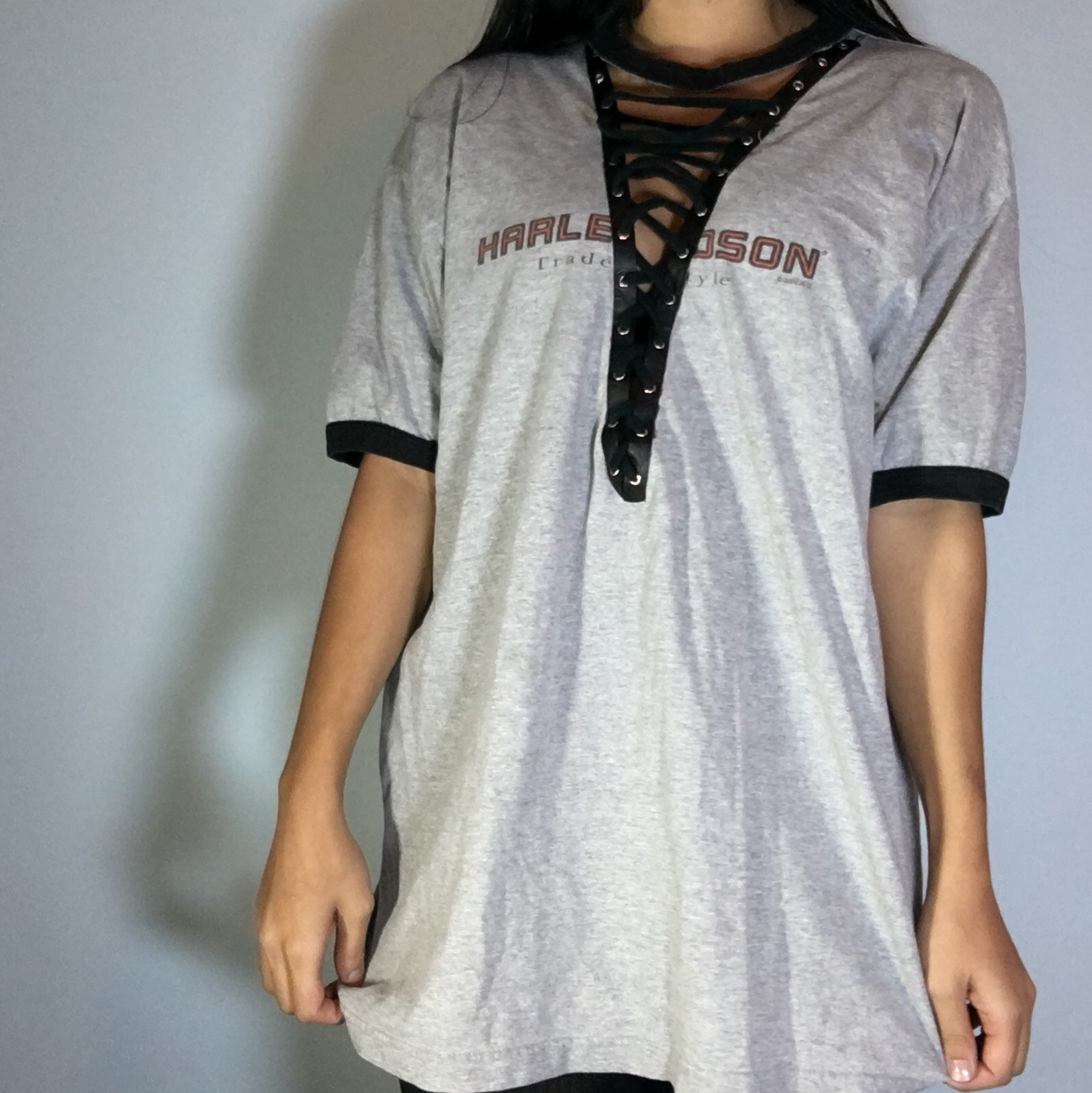 Harely Davidson Diy Lace Up Tee Could Be Worn As Depop