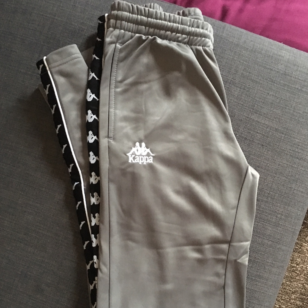 Kappa tracksuit bottoms in grey Size small Brand Depop