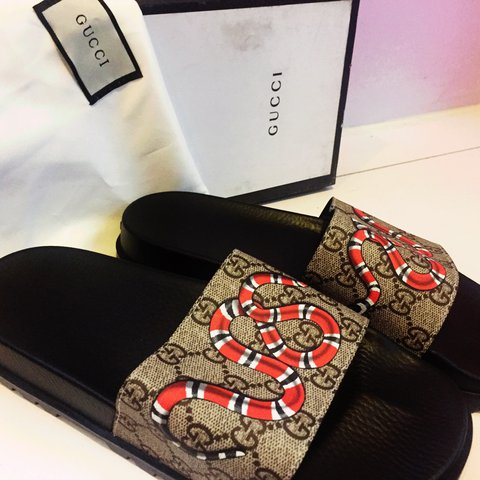 a9a28116c65 Gucci Snake Print GG Slides Brand new and 100% Authentic 9 - Depop