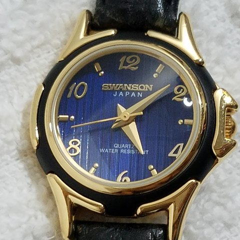 aea19671a Swanson Navy Blue Dial Gold Plate Leather Strap Watch New 1 - Depop